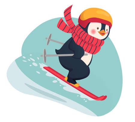 Penguin skier isolated. Leisure concept illustration
