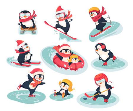 Penguins athletes. Sports characters icons flat illustration Çizim