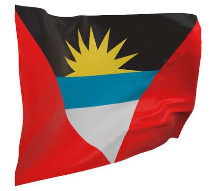 Antigua and Barbuda flag isolated. Waving banner. National flag of Antigua and Barbuda