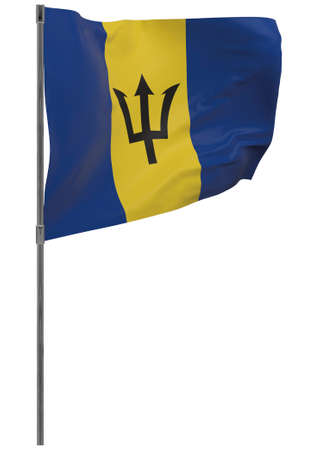 Barbados flag on pole. Waving banner isolated. National flag of Barbados Banque d'images - 167336432