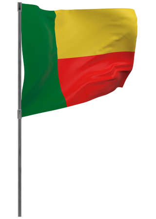 Benin flag on pole. Waving banner isolated. National flag of Benin Banque d'images - 167336410