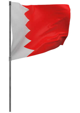 Bahrain flag on pole. Waving banner isolated. National flag of Bahrain Banque d'images - 167336392