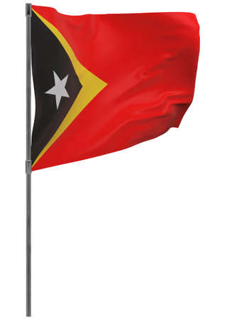 East Timor flag on pole. Waving banner isolated. National flag of East Timor Banque d'images - 167336212