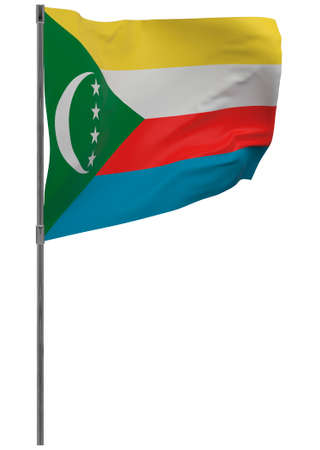 Comoros flag on pole. Waving banner isolated. National flag of Comoros Banque d'images - 167336428