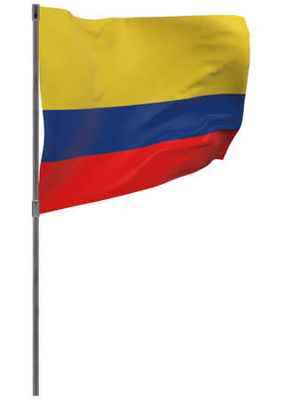 Colombia flag on pole. Waving banner isolated. National flag of Colombia Banque d'images - 167336436