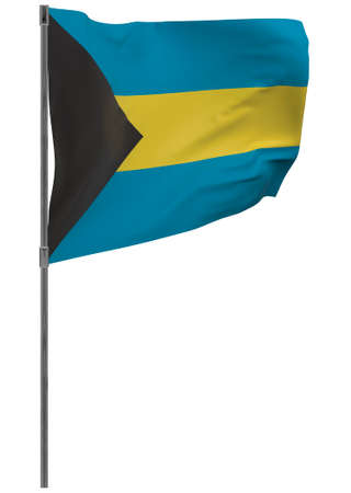 Bahamas flag on pole. Waving banner isolated. National flag of Bahamas Banque d'images - 167336367