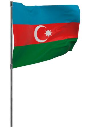 Azerbaijan flag on pole. Waving banner isolated. National flag of Azerbaijan