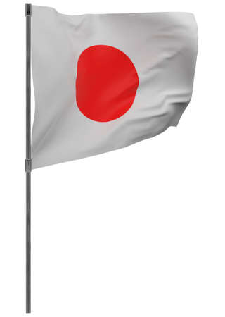 Japan flag on pole. Waving banner isolated. National flag of Japan Banque d'images - 167336209