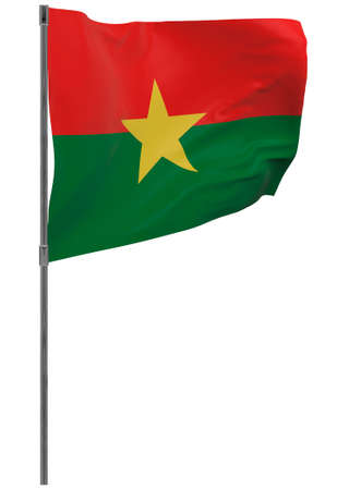 Burkina Faso flag on pole. Waving banner isolated. National flag of Burkina Faso Banque d'images - 167336381