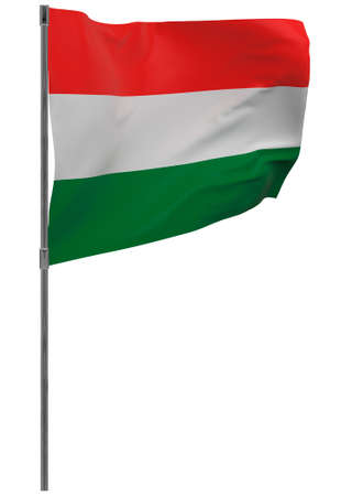 Hungary flag on pole. Waving banner isolated. National flag of Hungary Banque d'images - 167336236