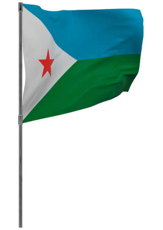 Djibouti flag on pole. Waving banner isolated. National flag of Djibouti 写真素材 - 167336387