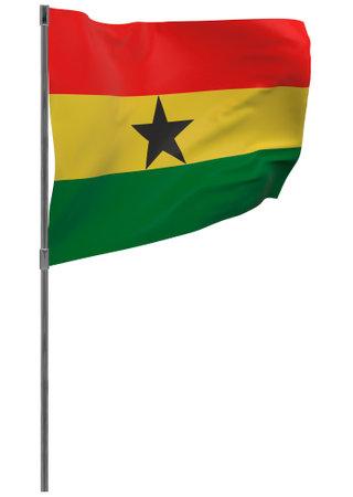 Ghana flag on pole. Waving banner isolated. National flag of Ghana
