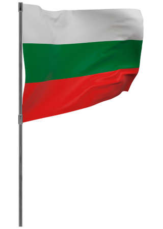 Bulgaria flag on pole. Waving banner isolated. National flag of Bulgaria Banque d'images - 167336386