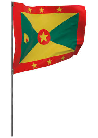 Grenada flag on pole. Waving banner isolated. National flag of Grenada Banque d'images - 167336360