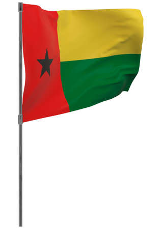 Guinea-Bissau flag on pole. Waving banner isolated. National flag of Guinea-Bissau Banque d'images