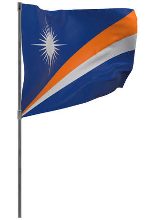 Marshall Islands flag on pole. Waving banner isolated. National flag of Marshall Islands Banque d'images