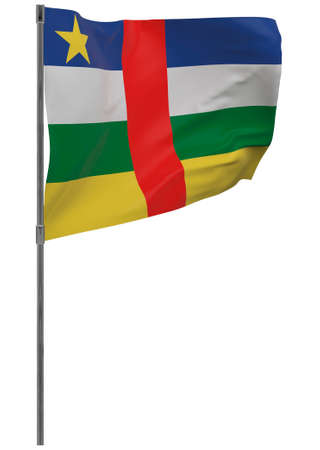 Central African Republic flag on pole. Waving banner isolated. National flag of Central African Republic Banque d'images - 167336447