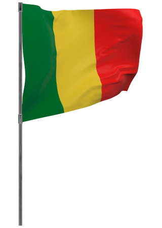 Mali flag on pole. Waving banner isolated. National flag of Mali