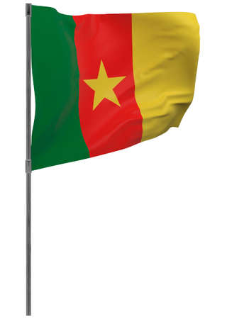 Cameroon flag on pole. Waving banner isolated. National flag of Cameroon 写真素材 - 167336371