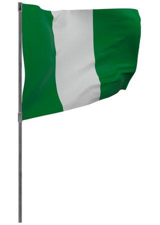 Nigeria flag on pole. Waving banner isolated. National flag of Nigeria