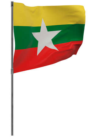 Myanmar flag on pole. Waving banner isolated. National flag of Myanmar