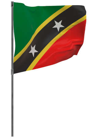Saint Kitts and Nevis flag on pole. Waving banner isolated. National flag of Saint Kitts and Nevis Banque d'images - 167336383