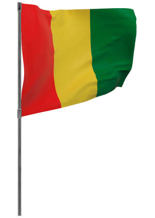 Guinea flag on pole. Waving banner isolated. National flag of Guinea Banque d'images - 167336328