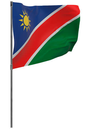 Namibia flag on pole. Waving banner isolated. National flag of Namibia Banque d'images - 167336244