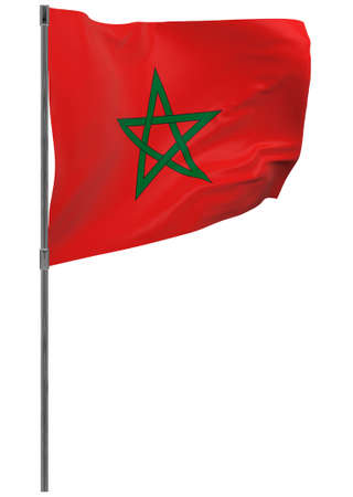 Morocco flag on pole. Waving banner isolated. National flag of Morocco Banque d'images - 167336406