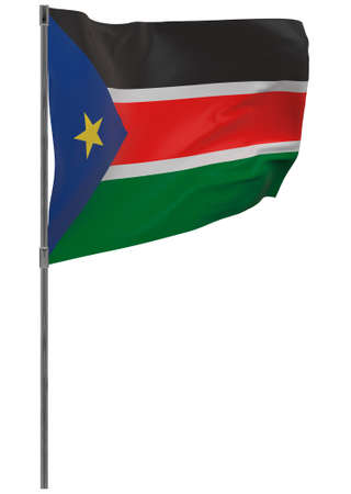 South Sudan flag on pole. Waving banner isolated. National flag of South Sudan 写真素材 - 167336242