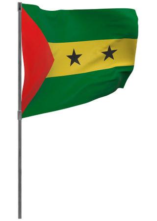 Sao Tome and Principe flag on pole. Waving banner isolated. National flag of Sao Tome and Principe
