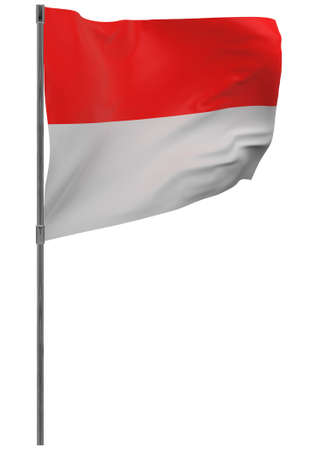 Indonesia flag on pole. Waving banner isolated. National flag of Indonesia
