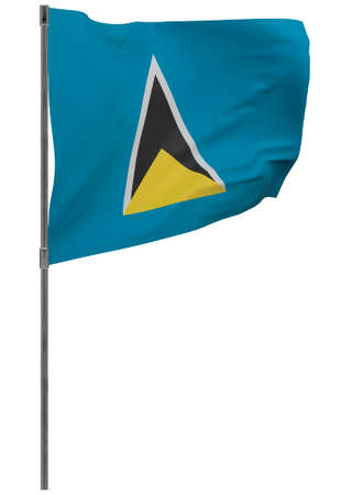 Saint Lucia flag on pole. Waving banner isolated. National flag of Saint Lucia 写真素材 - 167336454