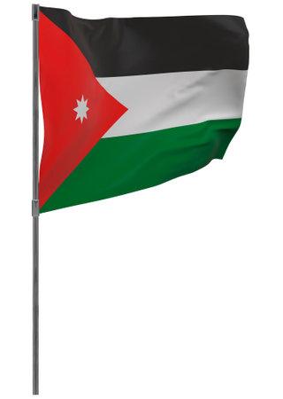 Jordan flag on pole. Waving banner isolated. National flag of Jordan
