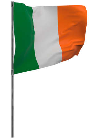 Ireland flag on pole. Waving banner isolated. National flag of Ireland Banque d'images - 167336229