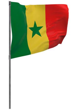 Senegal flag on pole. Waving banner isolated. National flag of Senegal Banque d'images - 167336343