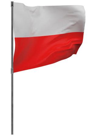 Poland flag on pole. Waving banner isolated. National flag of Poland 写真素材 - 167336421