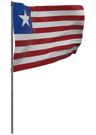 Liberia flag on pole. Waving banner isolated. National flag of Liberia Banque d'images - 167336341