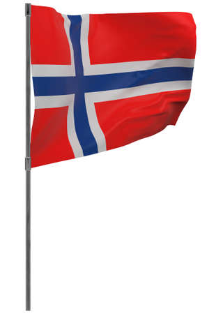 Norway flag on pole. Waving banner isolated. National flag of Norway 写真素材 - 167336377