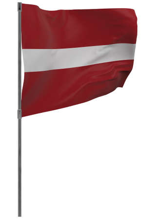 latvia flag on pole. Waving banner isolated. National flag of latvia Banque d'images - 167336419