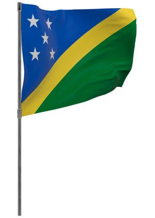 Solomon Islands flag on pole. Waving banner isolated. National flag of Solomon Islands 写真素材 - 167336235