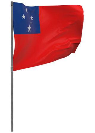 Samoa flag on pole. Waving banner isolated. National flag of Samoa