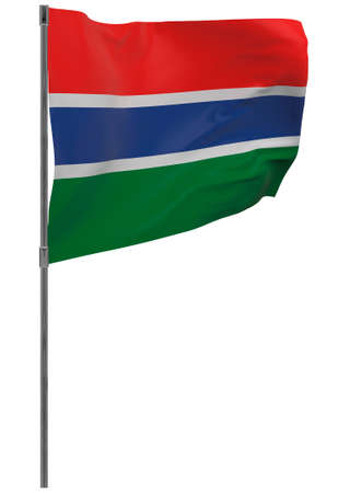 Gambia flag on pole. Waving banner isolated. National flag of Gambia