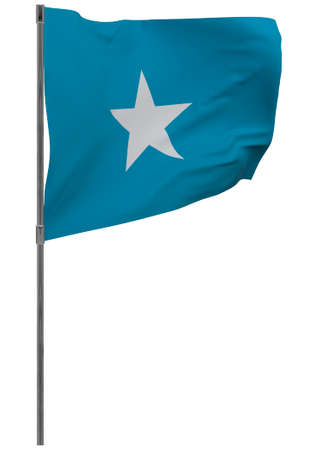 Somalia flag on pole. Waving banner isolated. National flag of Somalia Banque d'images - 167336323