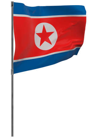 North Korea flag on pole. Waving banner isolated. National flag of North Korea Banque d'images