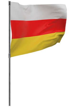 South ossetia flag on pole. Waving banner isolated. National flag of South ossetia Banque d'images