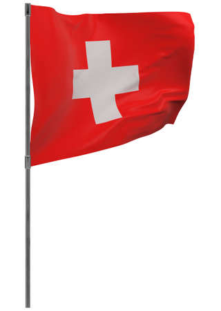 Switzerland flag on pole. Waving banner isolated. National flag of Switzerland Banque d'images