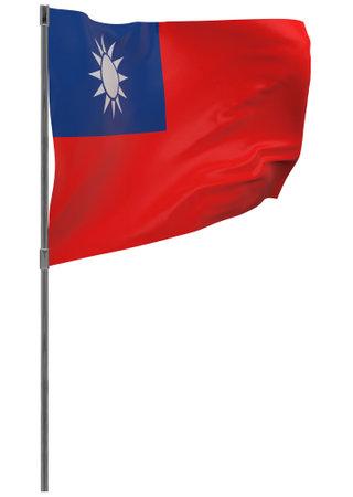 Taiwan flag on pole. Waving banner isolated. National flag of Taiwan