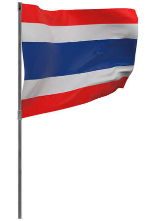 Thailand flag on pole. Waving banner isolated. National flag of Thailand 写真素材 - 167336346