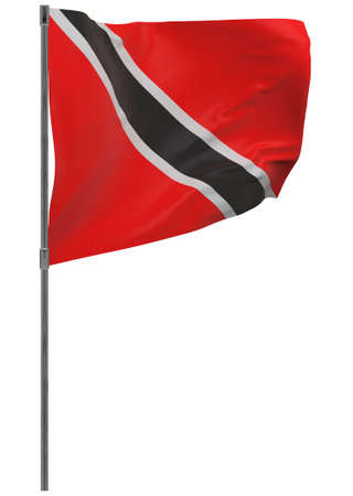 Trinidad and Tobago flag on pole. Waving banner isolated. National flag of Trinidad and Tobago Banque d'images - 167336403